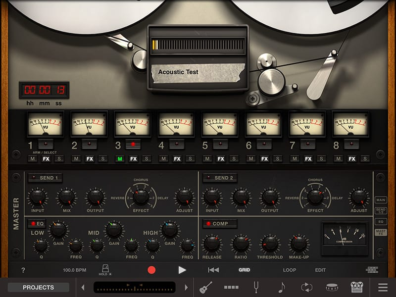 AmpliTube Acoustic 8-track recorder