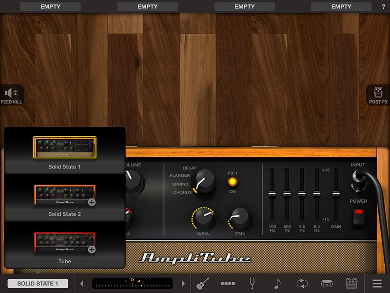 AmpliTube Acoustic amplifier options