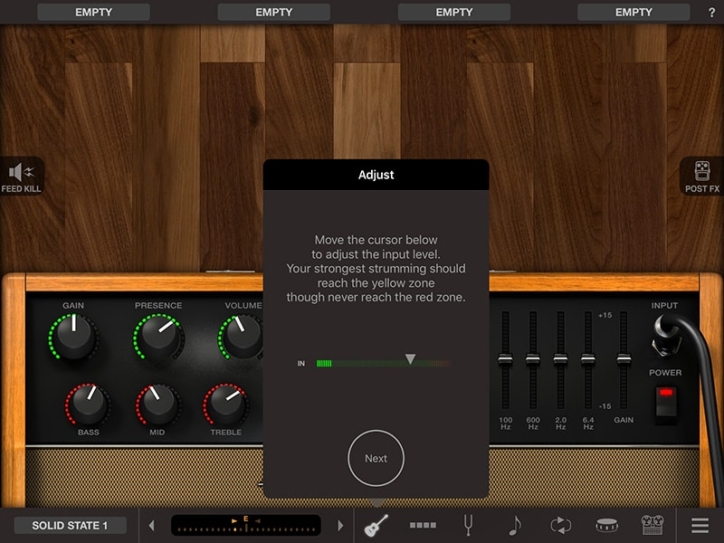 Amplitube setup screen 2