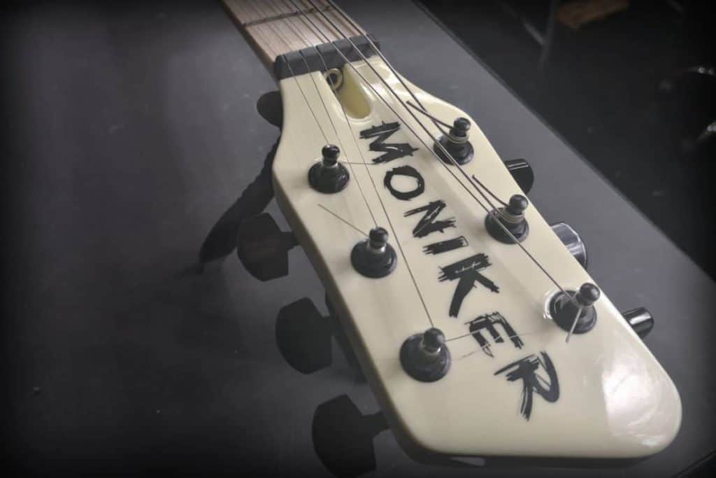 Moniker Guitars headstock strung up