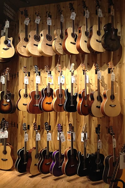 Wall of acoustic guitars