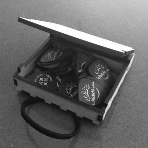 Branded plectrum box open
